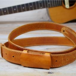 GS55 Slim Leather Guitar Strap - Tan