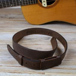 GS55 Slim Leather Guitar Strap - Brown