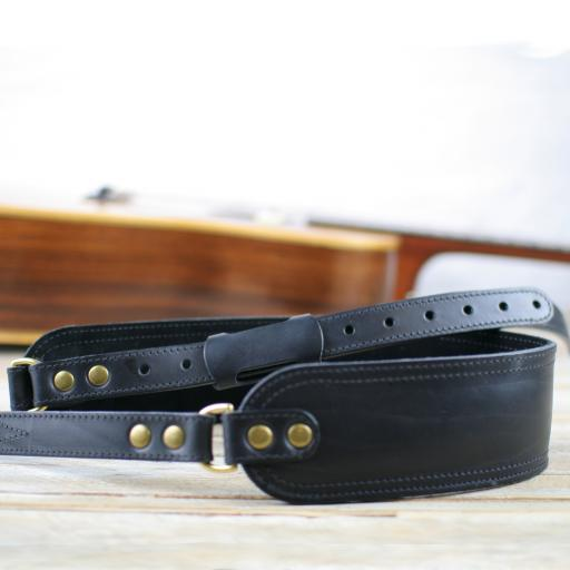 GS47 Deluxe Leather Guitar Strap - black