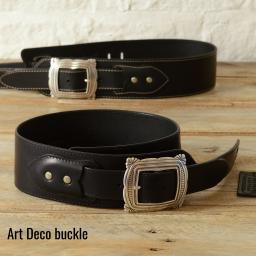 BS79 Guitar Strap With Art Deco Buckle - black