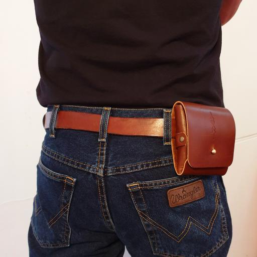 double harmonica belt pouch brown on model 1.jpg
