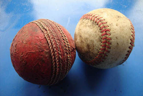 cricket ball and baseball