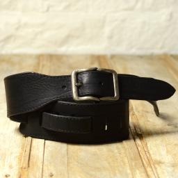 GS78 Leather Guitar Strap With Buckle - black