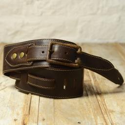 BS79 Guitar Strap With Rusted Bolt Buckle - brown
