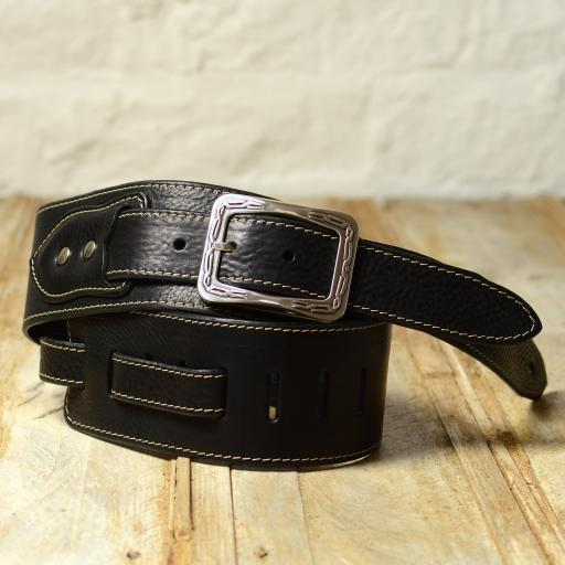 BS79 Leather Guitar Strap With Buckle - black