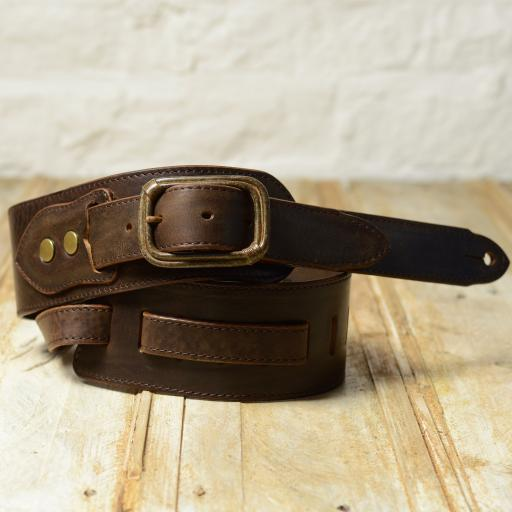 BS79 Guitar Strap With Relic Buckle - brown