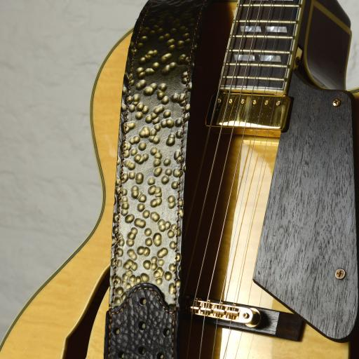 GS77 Gold Hammered Leather Guitar Strap
