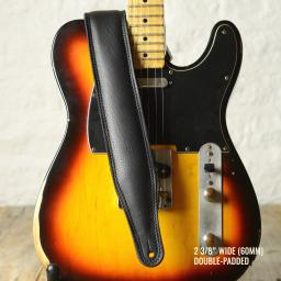 Pinegrove GS61 black leather guitar strap