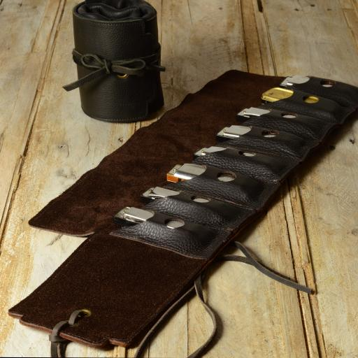 Straight-8 Leather Harmonica Case with tie cords