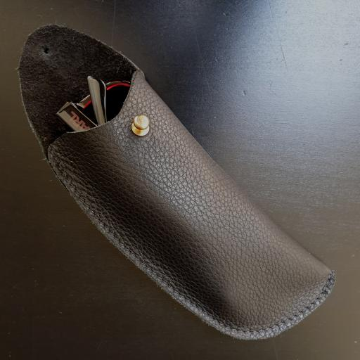 Leather Sunglasses Case - black