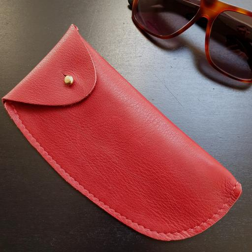 Leather Sunglasses Case - limited edition red