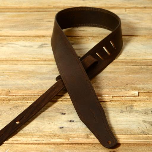 SOLD GS41 Leather Guitar Strap - Brown Second