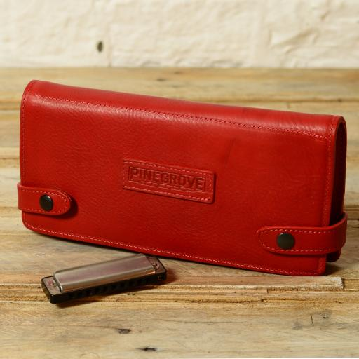 SOLD 12-Pack Leather Harmonica Case - red second