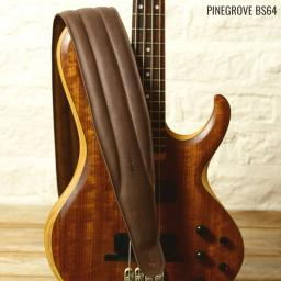 Pinegrove Leather wide guitar strap BS64 brown with bass guitar