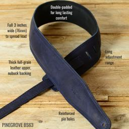 Pinegrove  BS63 padded Leather guitar strap in blue