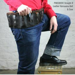 Pinegrove Leather Straight 8 harmonica belt and case, on model with blues harp in his hand