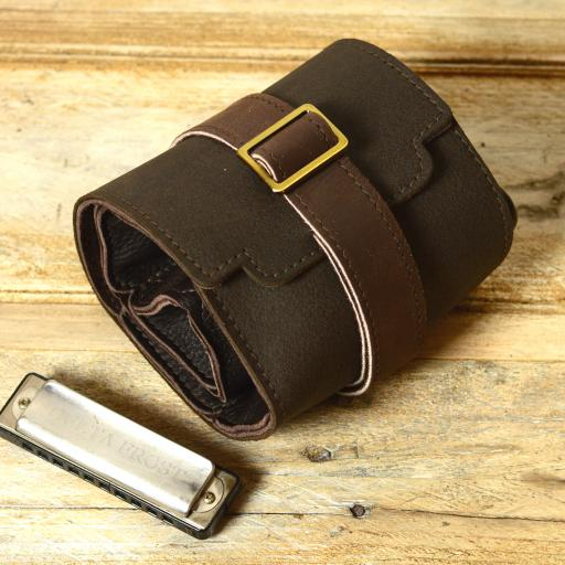 SOLD Straight-8 Harmonica Belt & Case - brown second