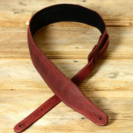 SOLD! GS61 Leather Guitar Strap - red ex-display
