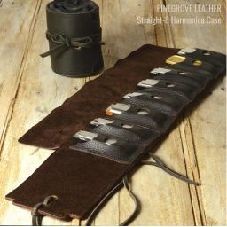 Pinegrove Leather Straight-8 Harmonica Cases in brown and black with blues harps