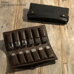 brown and black leather harmonica case for 12 blues harps by Pinegrove Leather