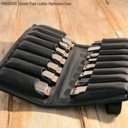 Pinegrove Leather 16 slot harmonica case in black brown or red