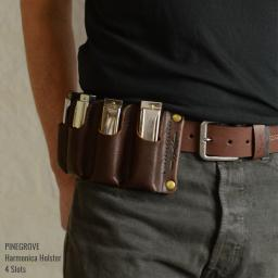 Pinegrove Leather harmonica holster with 4 blues harps on man's belt