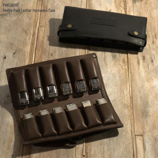 Twelve-Pack Leather Harmonica Case
