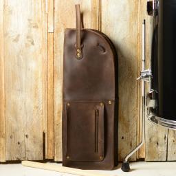 Pinegrove Leather Drumstick bag Vintage brown,  with floor tom drum