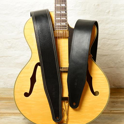 Pinegrove Leather BS53 black guitar strap, 3 inches wide, on archtop electric