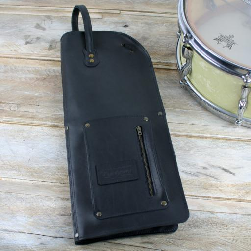 Vintage Style Leather Drumstick Bag - jet black