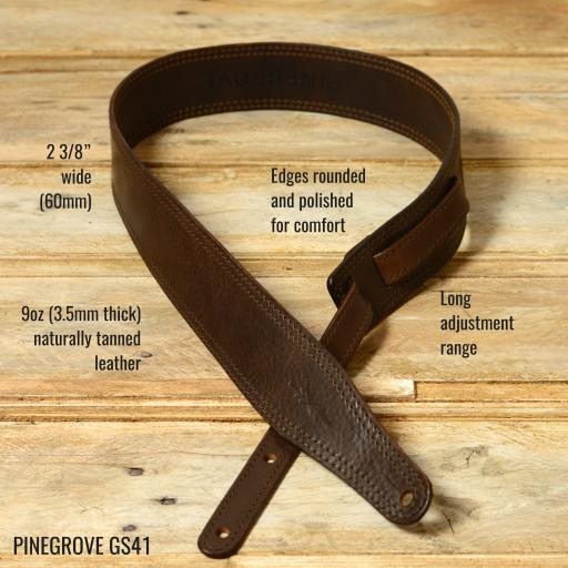 Pinegrove Leather GS41 Guitar Strap in dark brown vegetable tanned leather, with feature points