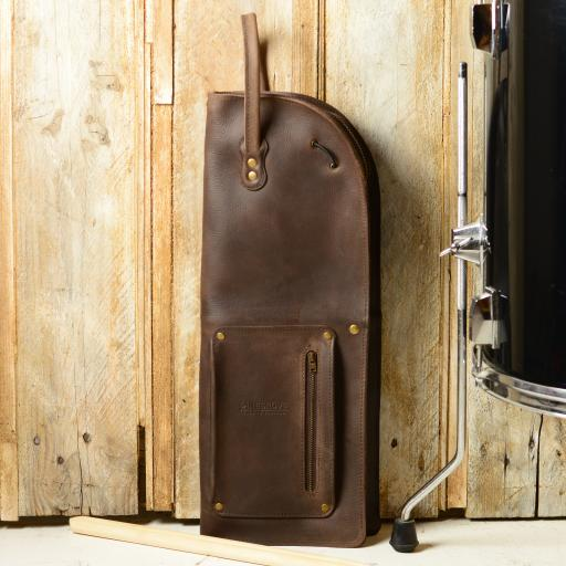 Vintage Style Leather Drumstick Bag - tobacco brown