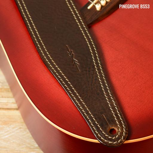 "BS53 3"" Wide (76mm) Guitar Strap - Brown with White Stitch"