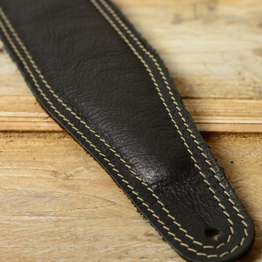 BS63 Leather Guitar Strap - black with white stitch - special offer