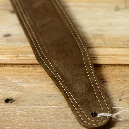 SOLD! GS61 Leather Guitar Strap - khaki brown suede special