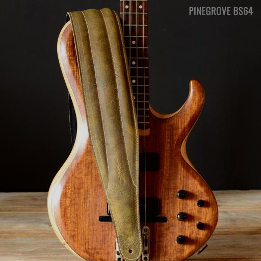 """BS64 4"""" (100mm) Wide Padded Bass & Guitar Strap - Olive Green"""