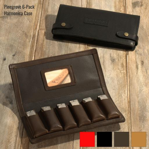 Six-Pack Leather Harmonica Case