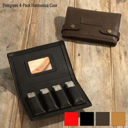 Four-Pack Leather Harmonica Case