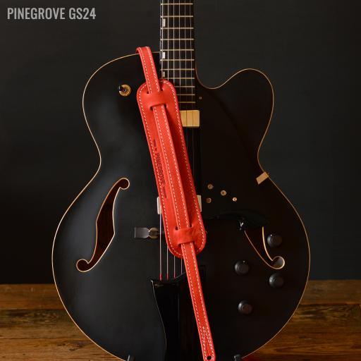 "GS24 3/4"" (18mm) Wide Rockabilly Guitar Strap - Red"