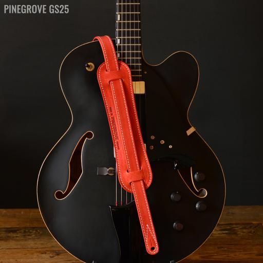 "GS25 1"" (25mm) Wide Rockabilly Guitar Strap - Red"